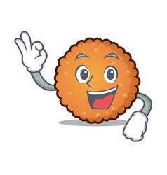 okay cookies character cartoon style vector image