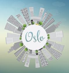 Oslo skyline with gray building vector