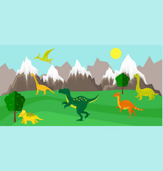 Poster with dinosaurs vector