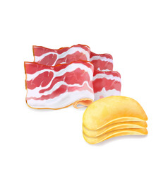 potato chips with bacon flavor isolated 3d vector image