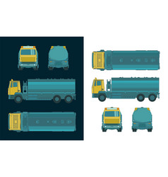 Refueler truck color drawings vector