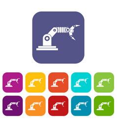 Robotic hand manipulator icons set vector