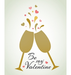 Romantic background with champagne glasses vector