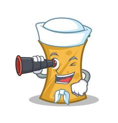 sailor with binocular kebab wrap character cartoon vector image