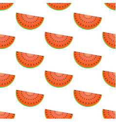 seamless pattern with watermelon isolated on white vector image
