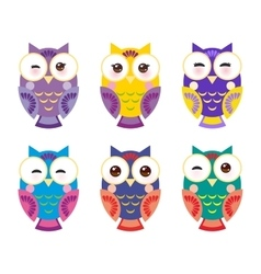 set bright colorful owls on white background vector image