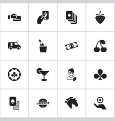 set of 16 editable casino icons includes symbols vector image