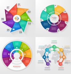 set of 4 infographic templates with 7 options vector image