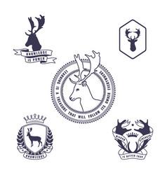 Set of deer emblem vector