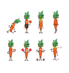 Set of funny carrots doing sport cartoon vector