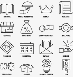 Set of linear franchise icons Franchise as a vector image