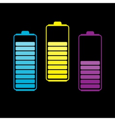 Set of three colorful batteries vector image