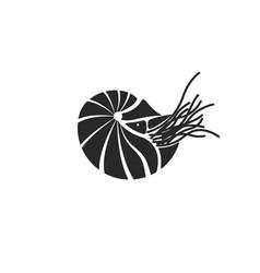 Silhouette chambered nautilus nautilus pompilius vector