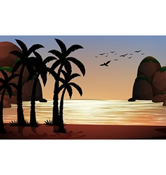 Silhouette scene of the beach vector