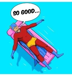 Superhero lying on air mattress comic vector image