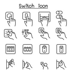 Switch icon set in thin line style vector