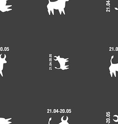 Taurus sign Seamless pattern on a gray background vector image