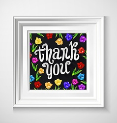Thank you card with hand lettering and cute floral vector