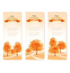 Three landscape autumn banners vector