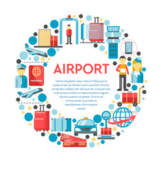 traveling and airport procedures staff and vector image