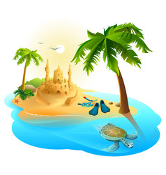 tropical island paradise beach palm tree sand vector image