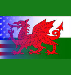Wales dragon stars and stripes vector