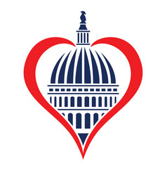 washington dc capitol dome with heart vector image