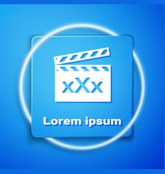 White movie clapper with inscription xxx icon vector