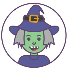 Witch avatar green witch icon witch in hat avatar vector