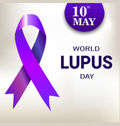 World lupus day purple ribbon vector