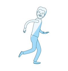 Blue silhouette shading cartoon full body male vector