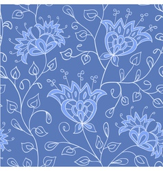 Floral blue seamless pattern vector image
