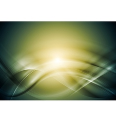 Green blurred abstract waves vector image vector image