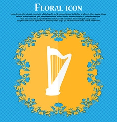 harp icon Floral flat design on a blue abstract vector image