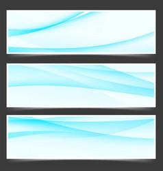 Modern satin blue line flyers set vector