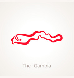 outline map of the gambia marked with red line vector image vector image