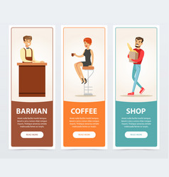 barman coffee shop banners for advertising vector image