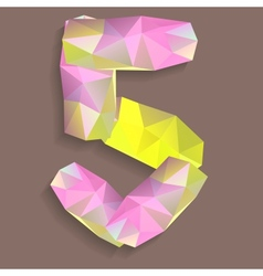 Geometric crystal digit 5 vector image