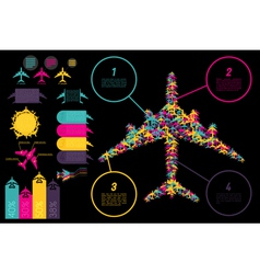 Set of elements for aviation ingographics vector image vector image