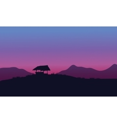 Silhouette of hut with purple backgrounds vector image