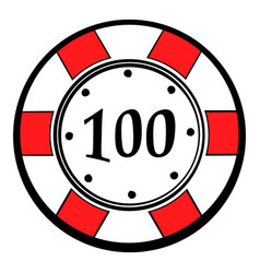 100 dollars casino chip icon icon cartoon vector image