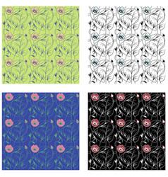 art nouveau flowers pattern vector image