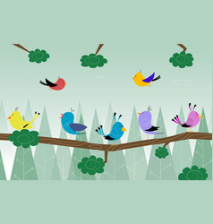 cartoon cute birds is sitting on branch in the vector image