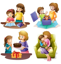 Mother and child doing different activities vector image