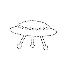 ufo simple sign black dashed icon on vector image