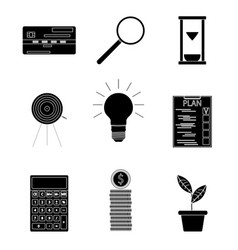 black silhouette business icons vector image