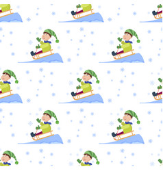 christmas kids playing winter games seamless vector image