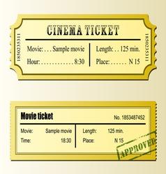 Cinema movie tickets vector image