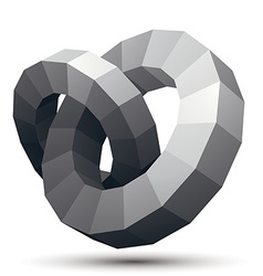 Complicated abstract grayscale 3D shape digital vector image vector image