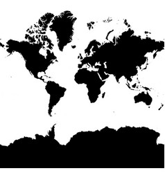 highly detailed continent silhouette world map vector image